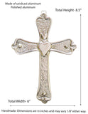 Polished  Aluminum Wall Cross w/ Heart -8.5 Inches High