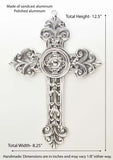 Polished Aluminum Wall Cross, W/conches-12.5 Inches High