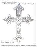 Polished Aluminum Stencil Wall Cross-16.5 Inches High