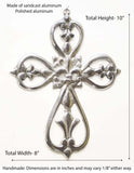 Polished Aluminum Wall Cross w/Fleur De Lis and Heats- 10 Inches High