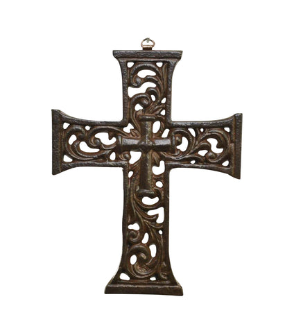 Laredo Aluminum Center Cross, Rustic- 9.25 Inches High