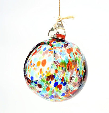 Hanging 4 Inch Glass Confetti Bird Seed Ball, Has 3 Feet of Twine