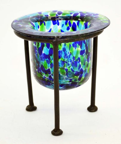 Confetti Forest Glass Votive Holder with Wrought Iron Stand-6 Inches High x 3 Inches Diameter.