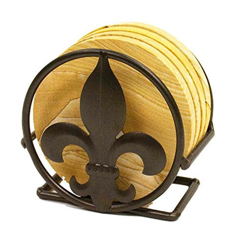 Iron Coaster Holder, Fleur De Lis Symbol- 4.25 Inches in Diameter.