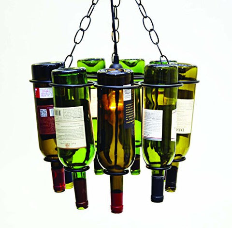 "Hanging Wine Bottle Pendant Lamp, Holds 9 Empty Wine Bottles-11.5""H x 15""D."