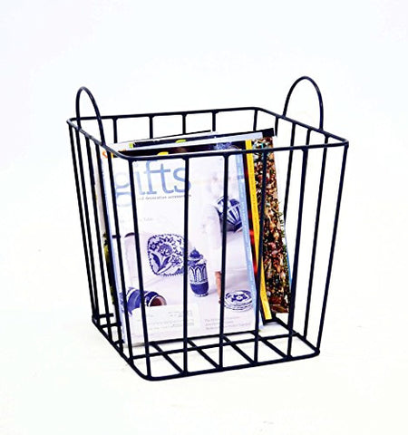 "Handmade Wrought Iron Square Magazine Basket- 15""H x 12""W."