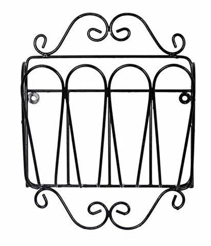 Wrought Iron Single Pocket Wall Magazine Rack-16 Inches High x 12.25 Inches Wide x 4 Inches in Diameter, Painted Bronze
