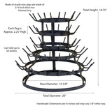 Wine Bottle Drying Rack, Holds 64 Bottles- 18.75 Inches High x 20 Inches in Diameter