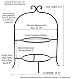 Handmade Wrought Iron Double Tier Plate Rack- 17.5 Inches High x 8 Inches Diameter