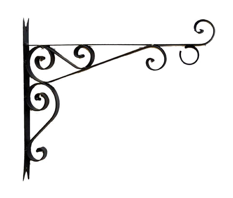 Decorative Wrought Iron Wall Bracket, Black Color-15 Inches Tall x 17 Inches Long