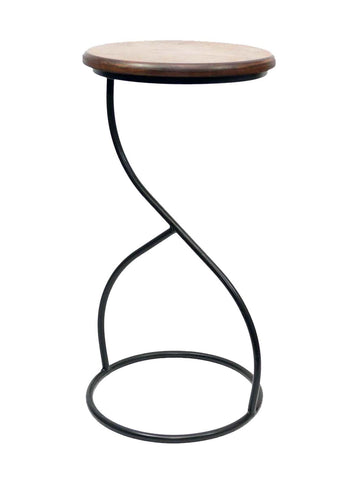 Laredo Wrought Iron Side Table-22.75 Inches High x 11 3/8 Inches in Diameter