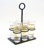 Tequila Flight Iron Stand with 6 Shooter Glasses-6 Inches Long x 4 Inches Wide