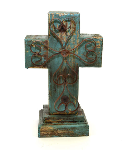 Rustic Reclaimed Wood Cross w/ Metal Cross in Front-12 Inches High by 7.5 Inches Wide by 5 Inches Deep. Rustic Green Finish