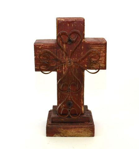 Rustic Reclaimed Wood Cross w/ Metal Cross in Front-12 Inches High by 7.5 Inches Wide by 5 Inches Deep. Rustic Red Finish