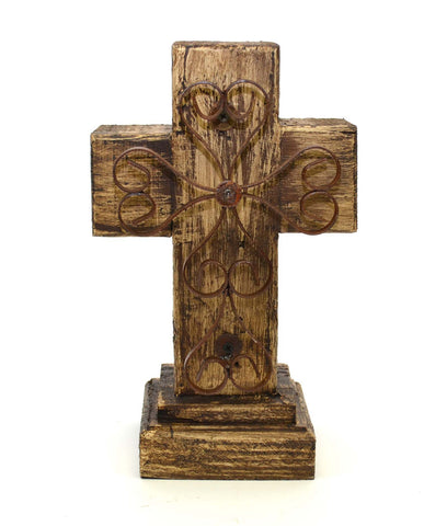 Rustic Reclaimed Wood Cross w/ Metal Cross in Front-12 Inches High by 7.5 Inches Wide by 5 Inches Deep. Rustic White Finish