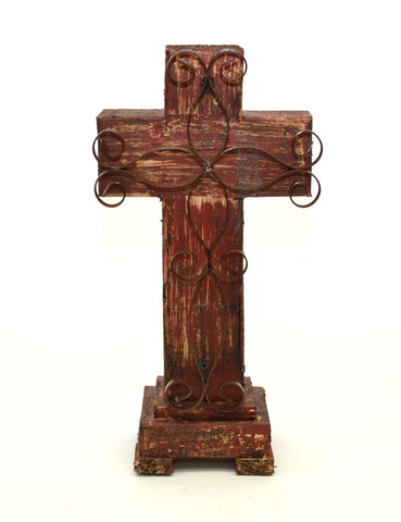 Rustic Reclaimed Wood Cross w/ Metal Cross in Front-16.5 Inches High by 8 Inches Wide by 5 Inches Deep. Rustic Red Finish