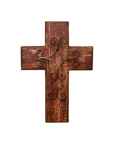 Laredo Import Rustic Reclaimed Wood Wall Cross w/Metal Cross in Front-15 Inches Tall by 10.5 Inches Wide. Rustic Red Color.