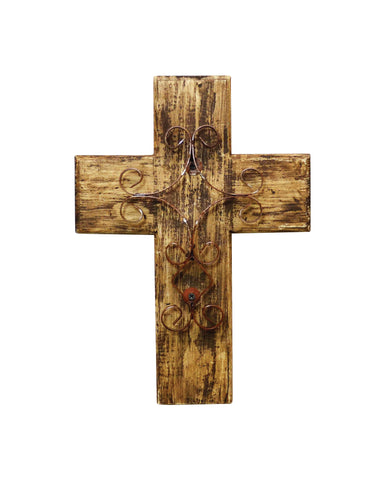 Rustic Reclaimed Wood Wall Cross w/ Metal Cross in Front-15 Inches Tall by 10.5 Inches Wide. Rustic White Color.