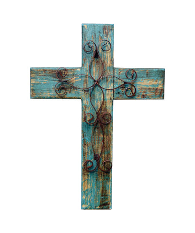 Laredo Import Rustic Reclaimed Wood Wall Cross w/Metal Cross in Front-19.5 Inches Tall by 14.5 Inches Wide. Rustic Green Color.