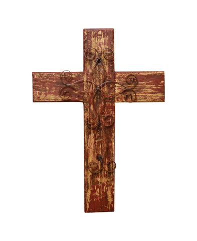 Rustic Reclaimed Wood Wall Cross w/ Metal Cross in Front-19.5 Inches Tall by 14.5 Inches Wide. Rustic Red Color