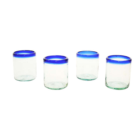 Set of 4, Blue Rimmed Cocktail/Juice Glass-10 ounces, Recycled Glass