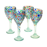 Set of 4, Mexican Recycled Wine Glasses, Multi-Color Bumpy Confetti-12 Ounces