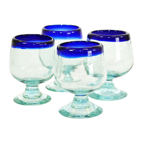 Set of 4, Brandy Shaped Tequila Sippers-2-3 oz, Blue Rim