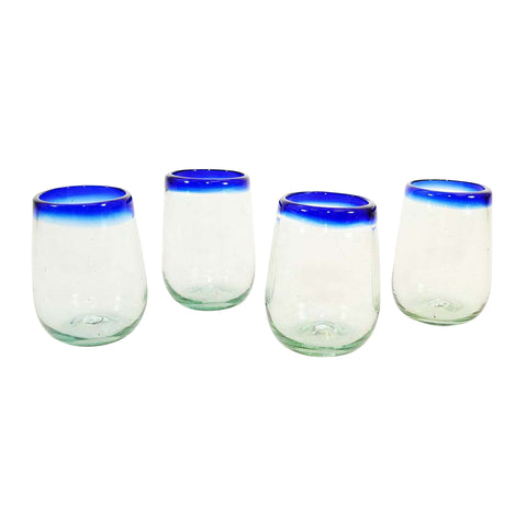 Set of 4, Blue Rimmed Stemless Wine Glasses-16 oz. Mexico
