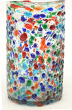 Set of 4, Mexican Recycled Ice Tea Glasses, Multi-Color Bumpy Confetti-22 Ounces