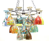 "Wrought  Iron Wine Glass Socket Set Chandelier with Assorted Glasses. -21.75""W x 33""H."