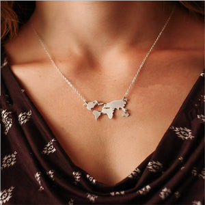 World Map Necklace -World Traveler - New Found Deals