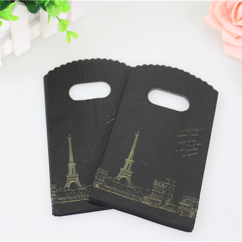 50pcs/lot 9*15cm High Quality Black Eiffel Tower Gift Packaging Bags - New Found Deals