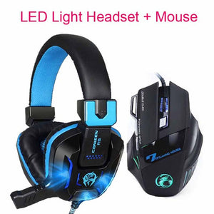 New 7 Buttons 5500 DPI Professional Gaming Mouse+Heavy Bass Games LED Light Gaming Headphone with Earphone Microphones Headset - New Found Deals