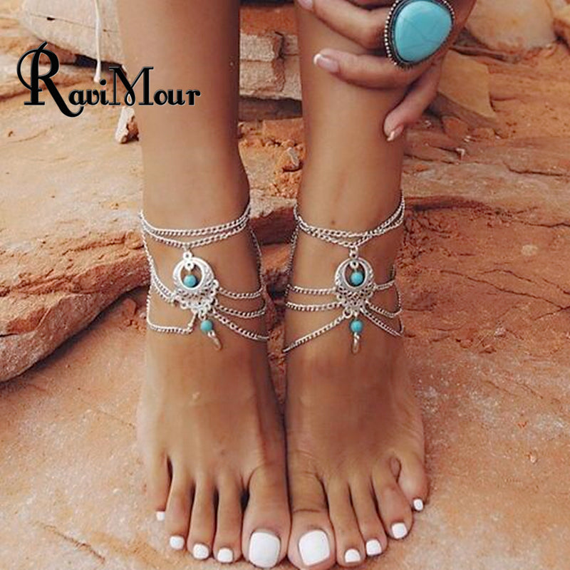RAVIMOUR Vintage Silver Color  Foot Jewelry - New Found Deals