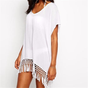New Arrival Chiffon Tassel Beach Cover up - New Found Deals