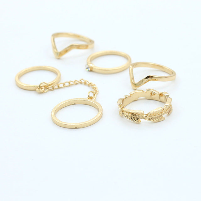 6 pieces/set Gold or Silver Color Midi Finger Knuckle Rings - New Found Deals