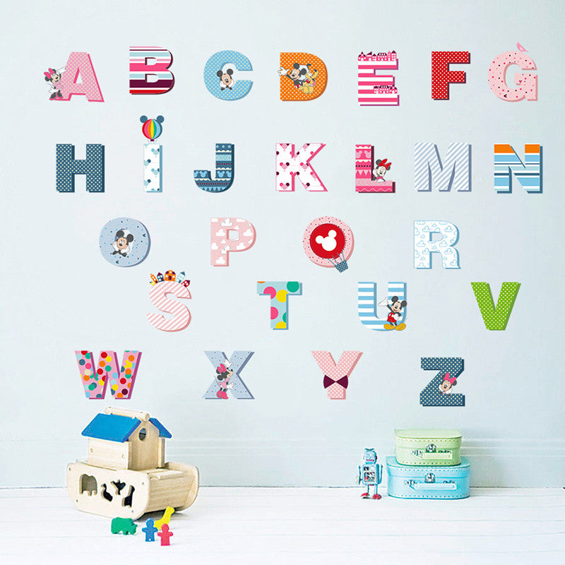 Cartoon Colorful alphabet Wall Stickers - New Found Deals