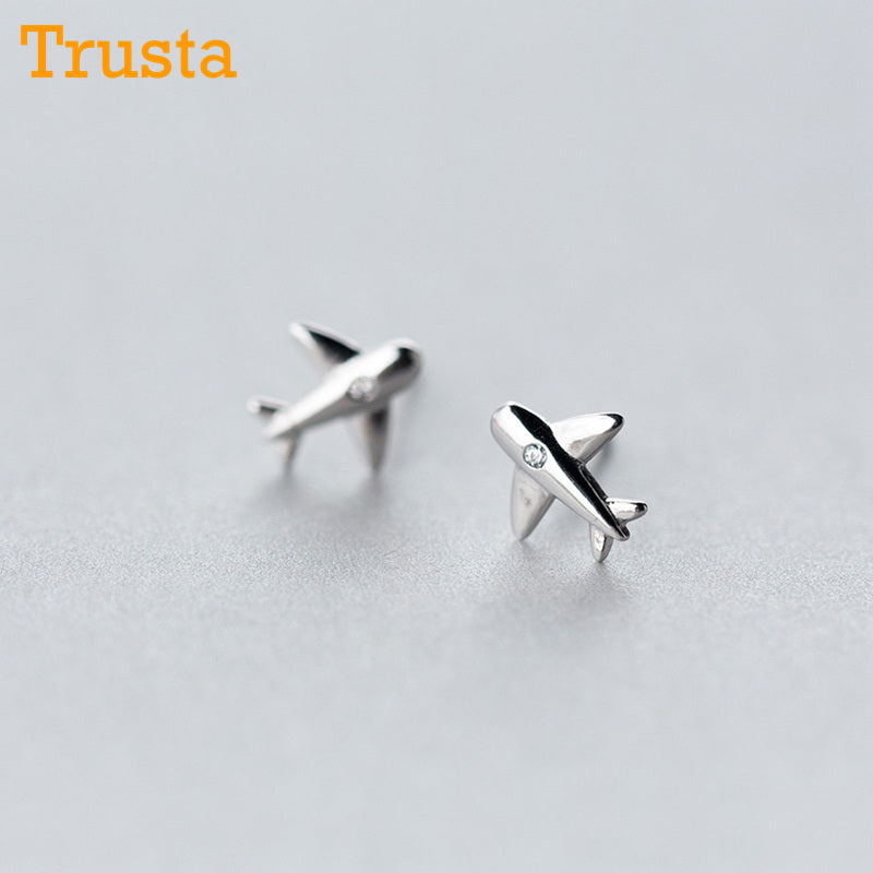 Sterling Silver Aircraft Stud Earrings - New Found Deals