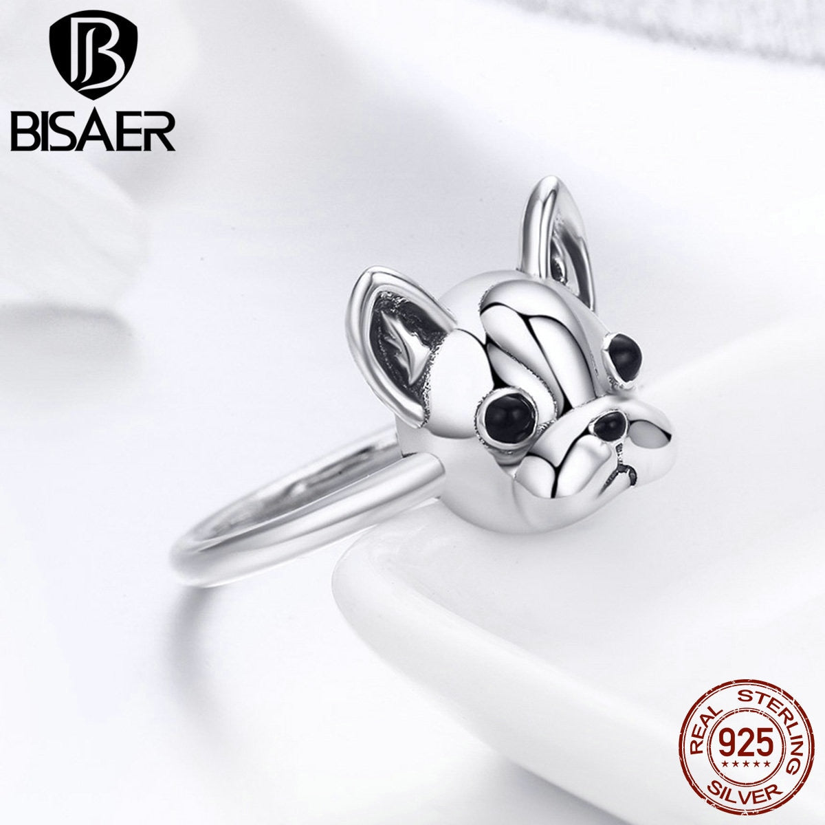 Sterling Silver French Bulldog Ring - New Found Deals