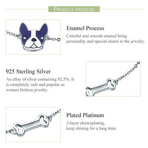 Sterling Silver French Bulldog & Dog Bone Chain Link Women Bracelet - New Found Deals