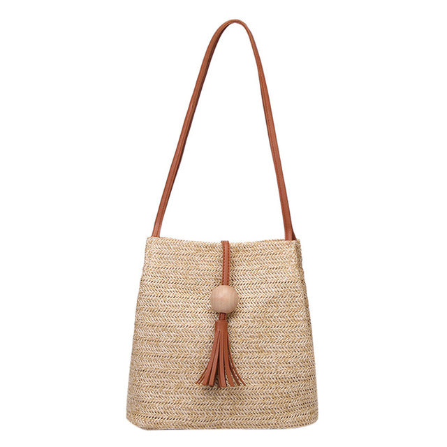 Durable Summer Weave Straw Casual Tote - New Found Deals
