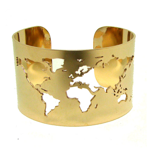 World Map Cut-out Cuff Bangle Bracelet - New Found Deals