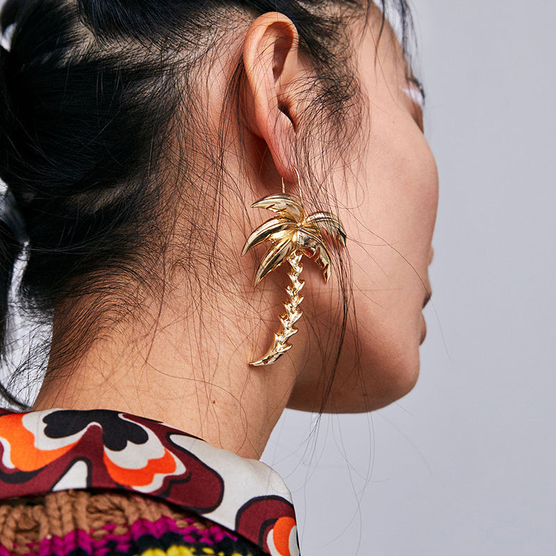 New Trendy Palm Tree Earrings - New Found Deals