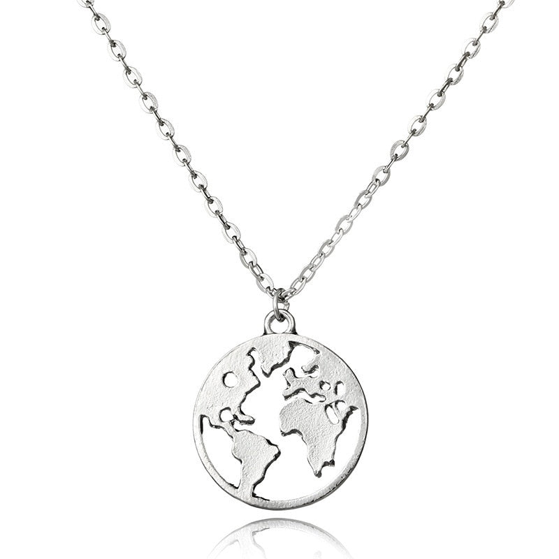 2018 New Round Hollow Globe World Map Pendant Necklace - New Found Deals