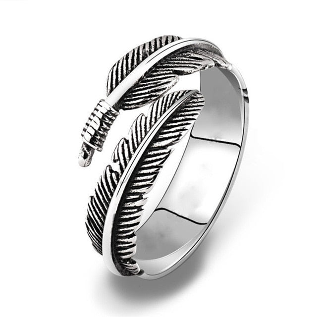 Adjustable Silver Feathers Ring - New Found Deals