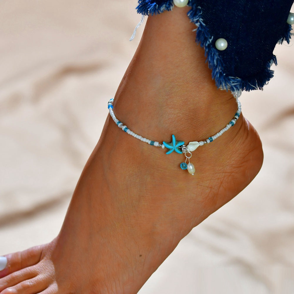 NEW Fashion Trendy Blue Starfish Shell Anklet - New Found Deals