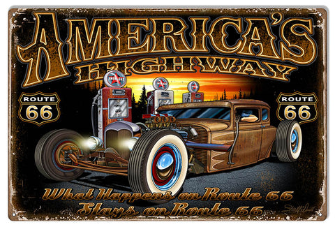 "Route 66 Americas Highway Garage Shop Sign By Steve McDonald 12""x18"""