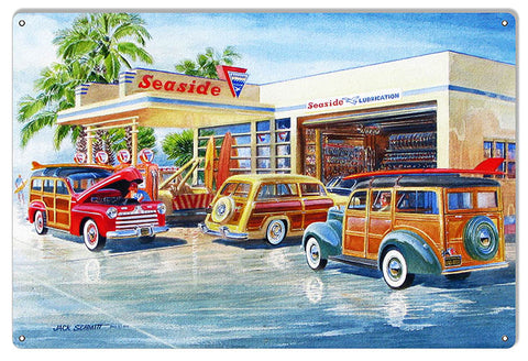 Seaside Gas Station Reproduction Garage Sign By Jack Schmitt 12x18