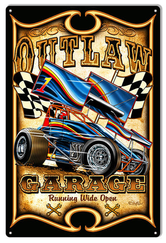 Motor Speedway Car Outlaw Garage Shop Sign By Steve McDonald 12x18