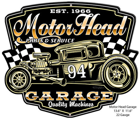 Motor Head Cut Out Garage Art Metal Sign By Steve McDonald 11.6x13.6